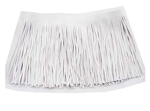 Borlas de cuero de la PU encaje trims adorno DIY Craft bolsa de tela zapatos fila Fringe, Pack 1 metro (Blanco)