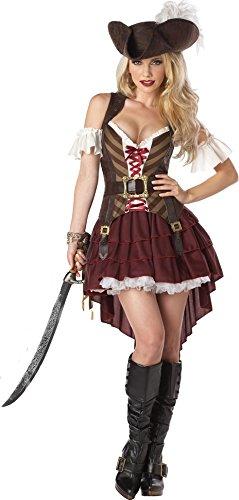 KULTFAKTOR GmbH Sexy Piratin-Damenkostüm Steampunk braun-rot-Weiss S (38/40)