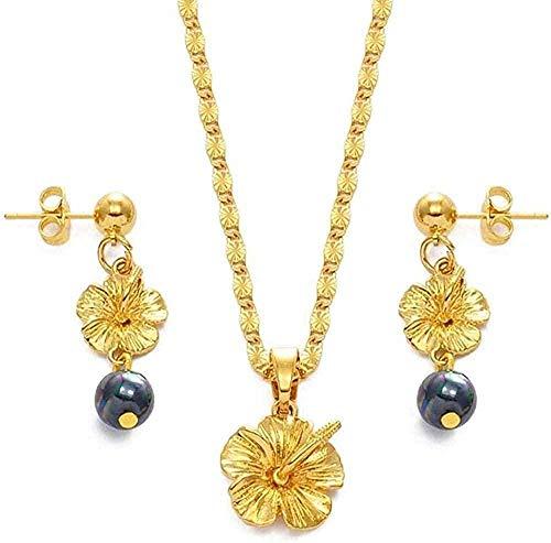 Aluyouqi Co.,ltd Collar Collar de Flores Hawaianas Collar de Hibisco Pendientes Micronesia Cadena de Acero Inoxidable Estilo étnico Regalo de Mujer # 239406