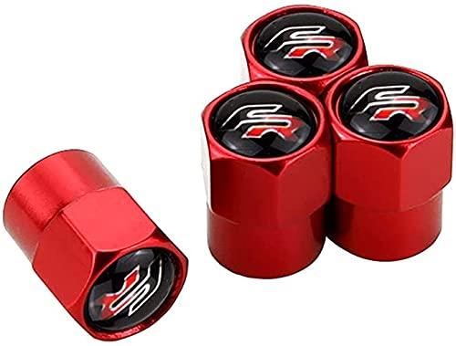 4 Piezas Acero Inoxidable Coche Válvulas Tapas para Seat Altea Leon FR Logo Ibiza Toledo Cordoba CRV, Anti Polvo Resistente Agua, anillos de goma Decoración Accesorios