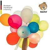 🎈 ZERTIFIZIERT - Unsere Ballons sind EU-konform und garantiert schadstoffrei 🎈 100% NATURKAUTSCHUK - umweltfreundlich und ressourcenschonend 🎈 LEUCHTENDE FARBEN - Im Set sind alle Regenbogenfarben enthalten 🎈 EXTRA LANGER HALS für einfaches Verknoten...