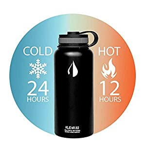 Klear Bottle - 32 Oz Double Wall Stainless Steel Water Bottle   Vacuum Sealed Keeps Cold Drinks Cold (32 Ounce Black)