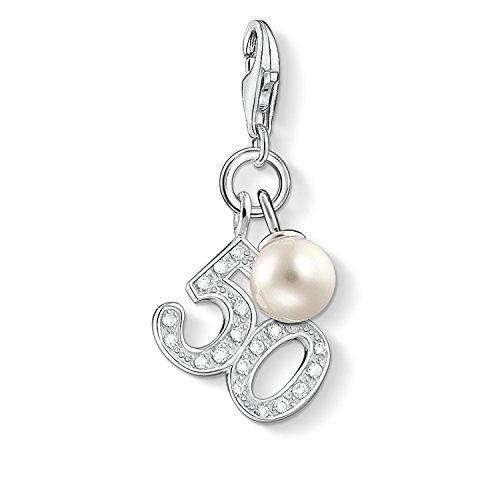 Thomas Sabo Women-Charm Pendant 50 Charm Club 925 Sterling silver Zirconia White freshwater pearl 1241-167-14