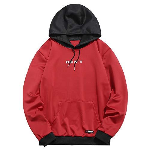 ZAFUL - Sudadera unisex informal con capucha, de manga larga, con cierre de cordón y bolsillo Rojo rosso M