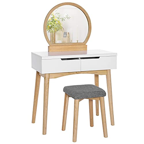VASAGLE Vanity, Makeup Vanity Desk with Rounded Mirror, 2 Drawers, Vanity Set with Upholstered Stool, for Bathroom, Bedroom, Girls Vanity for Gift, Natural and White URDT11K