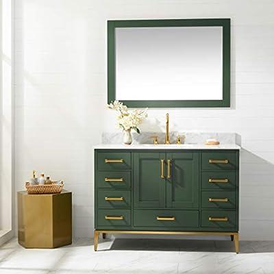 "UrbanFurnishing.net - Joy 48-Inch (48"") Bathroom Sink Vanity Set with White Italian Carrara Marble Top - Green"