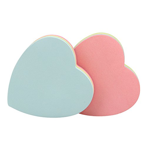 JERUIX Heart-Shaped Sticky Notes Posted Self-Adhesive Paper Notes Facilitated Stickers Notepads Sticky Marker, 2 Pads (100 Sheets/Pad)