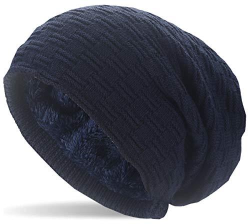 Hatstar Warme gefütterte Feinstrick Damen Beanie Herren Mütze | mit Flecht Muster und sehr weichem Fleece Innenfutter | Unisex Wintermütze weich & warm (9 | dunkelblau)