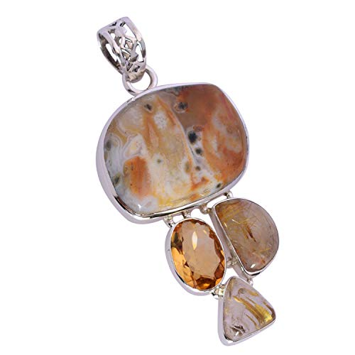 Ravishing Impressions Jewellery Colgante de plata de ley 925 maciza de jaspe oceánico, citrino y rutilo dorado, maravilloso hecho a mano, para mujer FSJ-5444