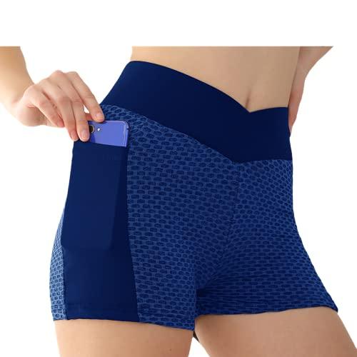 WYCYYWWKYK Pantalones Cortos de Yoga Hip Pantalones de Abeja Medias de Cintura Alta Medias Estilo Femenino(Azul,XL)