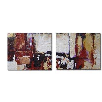 Cuadros dípticos Modernos Pintados en lienzos Grandes Dimensiones- Decora tu hogar con Arte Abstracto,Gran Formato Medidas 2(130x75) cm