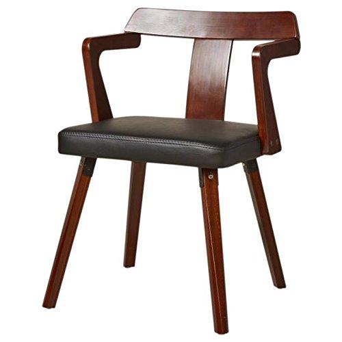 Moderne stoel, voet en rugleuning, hout, walnoot-afwerking, zwart, 48 x 42 x 73 cm
