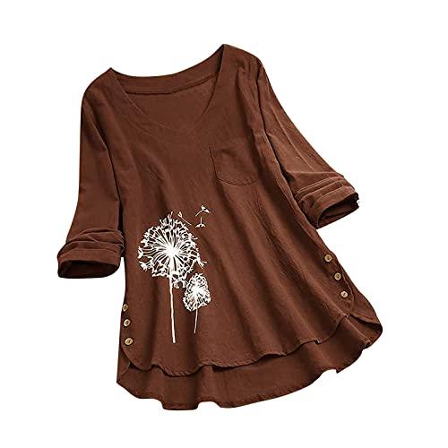 Xiangdanful Leinen Kleidung Tunika Damen Longshirt Löwenzahn Drucken Oberteile Shirt Langarm Blusen Casual Vintage T-Shirt Mode Pusteblume Drucken Tee Tops