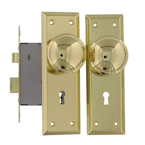 Ultra Security 44609 Old Time Mortise Lock with Skeleton Key, Brass-Plated Finish, Replaces Most Mortise Interior Locks from the Early 1900's
