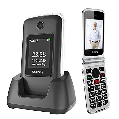 Ushining 3G Desbloqueado Senior Flip Phone Dual Screen T Mobile Flip Phone Desbloqueado SOS Big Button Grande Volume Telefone celular básico com carregador para idosos (preto)