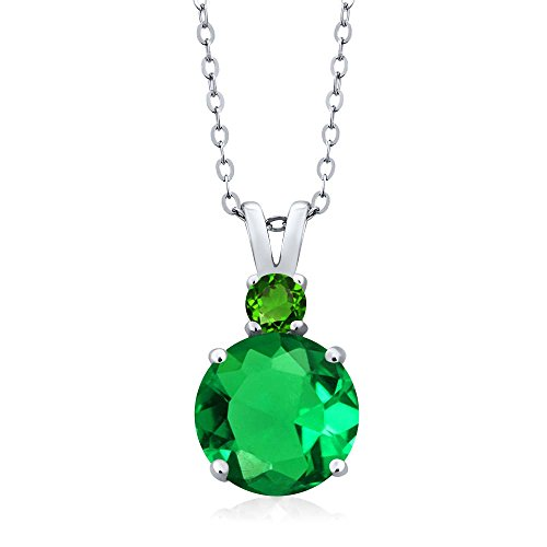 Gem Stone King 3.60 Ct Simulated Emerald Simulated Tsavorite 925 Sterling Silver Pendant