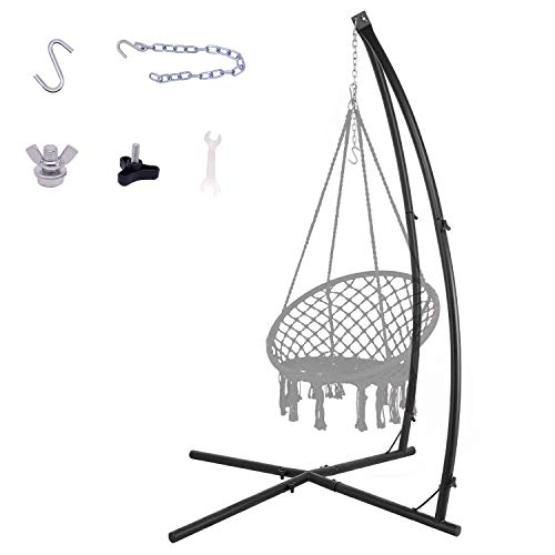 YILI C-Shape Hammock Chair Stand,Solid Steel 220lb Heavy Capacity,with 2X Hooks,1x Chain, Indoor/Outdoor use,Rack Stand for Hanging Chair,Tree Tent,Air Porch Swing ,Loungers,Yard,Garden,Patio,Black