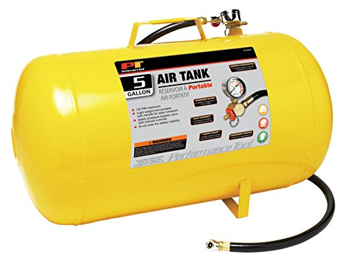 Performance Tool W10005 Hi-viz 5-Gallon Horizontal Portable Air Tank With Tire Air Chuck , Yellow