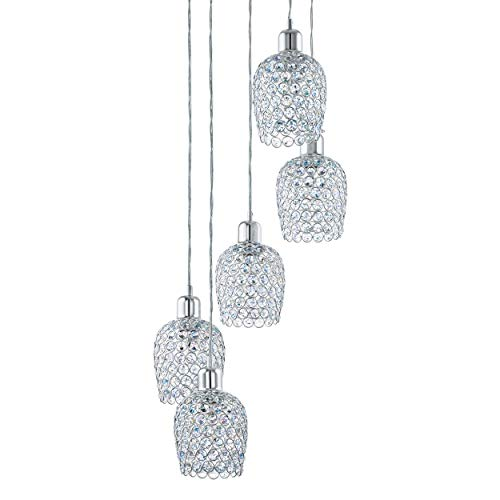 Eglo Bonares 1 - Lampadario a sospensione a 5 luci, elegante, in acciaio e cristallo cromato, trasparente, lampada da tavolo da pranzo, lampada da soggiorno con attacco E27