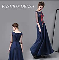 ドレス パーティードレス ウェディングドレス カラードレス ステージドレス Aライン マーメイド レディース aruka_nadia M ネイビー(濃いブルー)