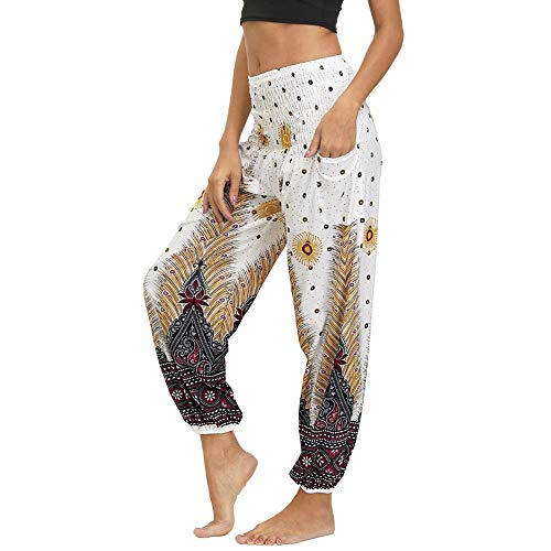 Nuofengkudu Mujer Hippies Pantalones Harem Tailandeses Boho Estampados Bolsillos Cintura Alta Baggy Yoga Pants Verano Playa Fiesta (Blanco Pavo,Talla única)