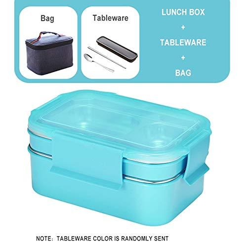 Fiambrera de Acero Inoxidable 304 para niños Nueva Caja Bento de Dos Capas para Estudiantes Recipiente de Comida con vajilla Bolsa de Almuerzo Cocina - Traje Azul, a