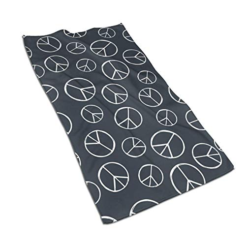 GOSMAO Bath Towel Hand Towel Quick Dry Soft & Highly Absorbent Washcloth Hippy Pacific Sign Hippie Peace Sign 27.5 X 17.5 in
