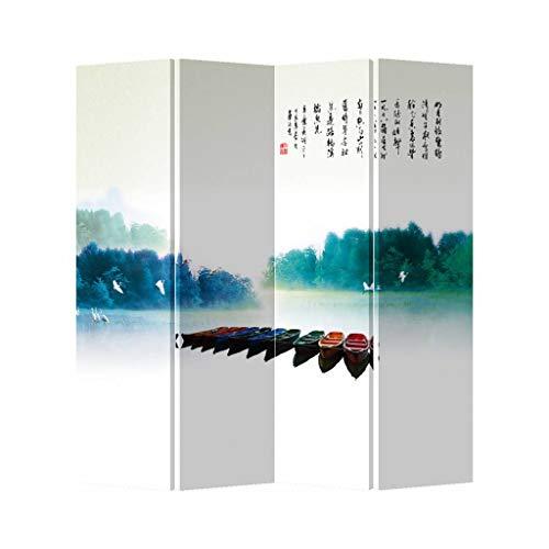 Fine Asianliving Paravent Raumteiler Trennwand Spanische Wand Raumtrenner Sichtschutz Japanisch Orientalisch Chinesisch L160xH180cm Bedruckte Canvas Leinwand Doppelseitig Asiatisch -203-186