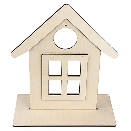 Deko-Haus aus Holz zum Aufstellen | 26,4 cm x 23 cm | Mit kreisförmiger Aussparung | 3-D Elemente