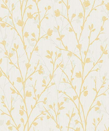 Papel Pintado Pared Flores Amarillas Marca Fine Décor