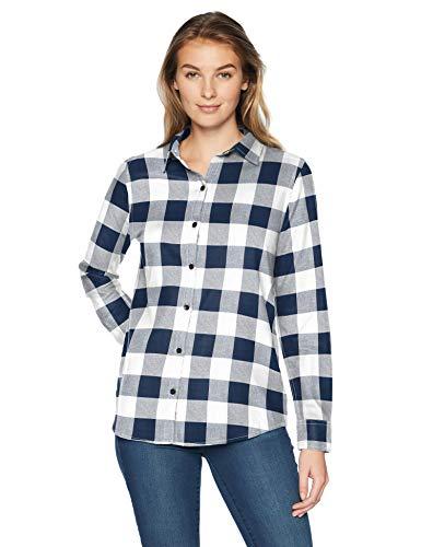 Amazon Essentials - Camisa de franela a cuadros, ligera, de manga larga, corte clásico, Azul (Navy Buffalo Plaid), US S (EU S - M)