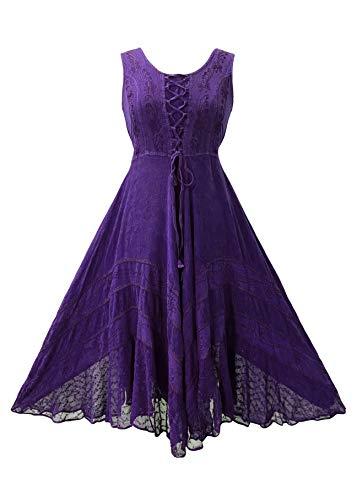 306 DR Sweet Empire Embroidered Renaissance Mid Length Dress [ Purple; XL/1X]