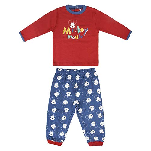 Artesania Cerda Pijama Largo Mickey Pelele para dormir, Rojo (Rojo C06), 24m para Bebés