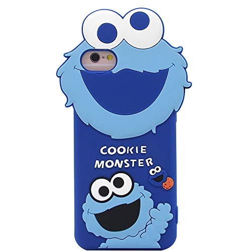 iPhone 6s Case, iPhone 7 Case, iPhone SE 2020 Case, Cute 3D Cartoon Sesame Street Shockproof and Protective Soft Silicone Case Cover for Apple iPhone 6/ 6s/ 7/ 8 4.7-Inch (Blue/Cookie Monster)