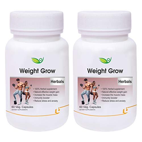 Biotrex Nutraceuticals Weight Grow Herbals - 60 Veg. Capsules, Weight Gain and Muscle Growth for Men and Women with Shatavari, Ashwagandha, Cinnamon, Arjuna & Amalaki (Pack of 2)