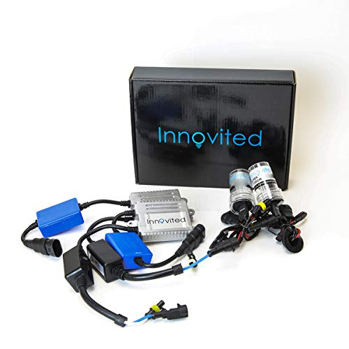 Innovited Premium AC Canbus Error Free HID Bundle - No Flicker with (1 Pair) Ballast and (1 Pair) Xenon Bulb - 9005-8000K - Ice Blue