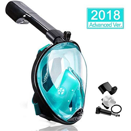 OCEVEN Panorama Vollmaske Schnorchelmaske Tauchmaske Vollgesichtsmaske mit 180° Sichtfeld, Dichtung aus Silikon Anti-Beschlag & Wasserdicht für Erwachsene und Kinder Anti-Fog Anti-Leak (Grün, L/XL)