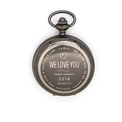 Moments Pocket Watch with Chain, Engraved with We Love You for Husband, Son or Brother, Keepsake Gift for Birthday, Anniversary, Valentines Day, Christmas by