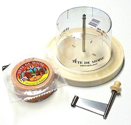 Girolle original swiss made Set Käsehobel aus Ahornholz halber Laib Tete de Moine Käse Mönchskopfkäse Haube