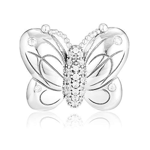 PANDOCCI 2019 Farfalla Decorativa Primavera Argento 925 Perlina Fai da Te Adatto per bracciali Pandora Originali Gioielli di Moda con ciondoli