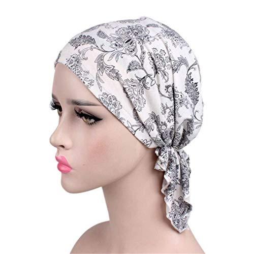 NgMik Gorras de Turbante para Mujeres 2OCS Damas de algodón Impreso Turbante Gorra étnico Tapa Tapa Baotou Tapa Gorante de Gorra Turbante Plisado (Color : L, Size : One Size)