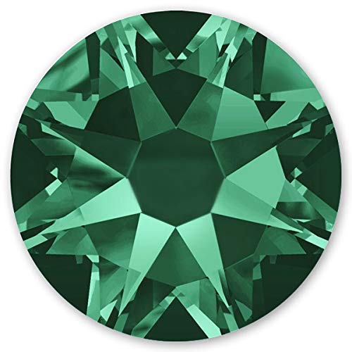 Swarovski 100 Stück Elements 2088 KEIN Hotfix, Emerald, SS12 (Ø ca. 3,2 mm), Strasssteine zum Aufkleben