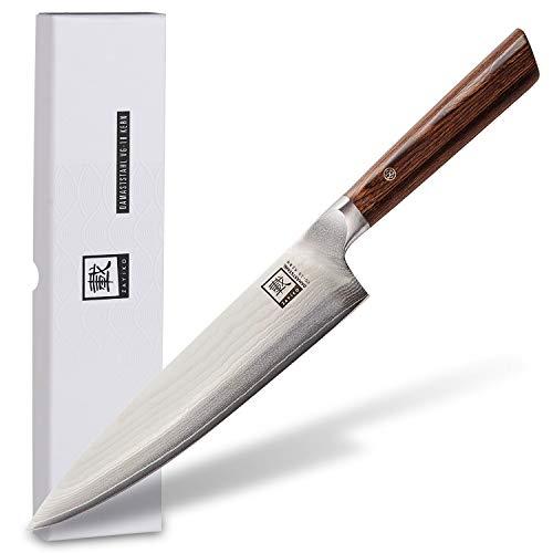 zayiko Kass Damastmesser Chefmesser 20,30 cm Klinge extrem scharf aus 67 Lagen I Damast Küchenmesser und Profi Kochmesser aus echtem japanischen Damaststahl mit Pakkaholz Griff