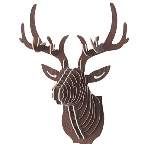 Da Jia Inc Vintage Style DIY 3D Puzzle Deer Head Wall Hanging Decor (Coffee)