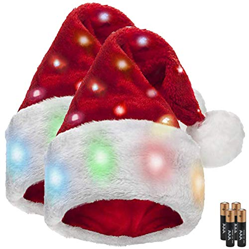 Funny Santa Hats for Adults [2 Pack] with 20 Blinking Color-Changing Light up LED Lights - Soft Plush Faux Fur Funny Christmas Hats for Adults and Kids (2 Hats)