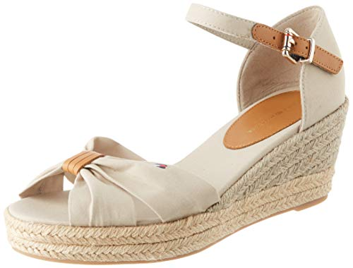 Tommy Hilfiger Basic Opened Toe Mid Wedge, Sandalias con Punta Abierta para Mujer