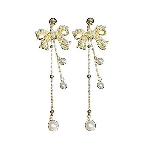 S925 pendientes de lazo de perlas de aguja de plata pendientes de borla larga temperamento de moda femenina pendientes frescos y salvajes
