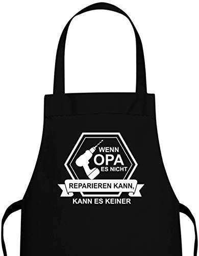 Jayess Opa Schürze Geschenk - Wenn Opa es Nicht reparieren kann Akkuschrauber - Küchenschürze Grill-Schürze Geschenke für Opas zum Geburtstag Geschenkideen an Weihnachten