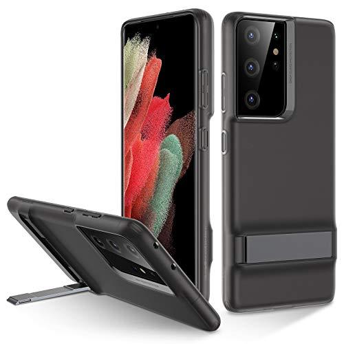 ESR Metall Ständer Hülle kompatibel mit Samsung Galaxy S21 Ultra (6,8 Zoll) Dünnes Silikon mit mattem Finish & Quer & Hochformat Ständer Durchsichtig Schwarz
