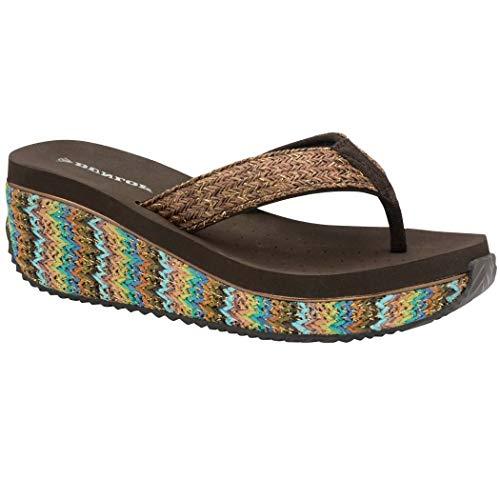 Dunlop Sandalias bajas con cuña para mujer, rafia, playa, verano, zapatos de verano, tallas 36 - 42,5, color, talla 40 EU